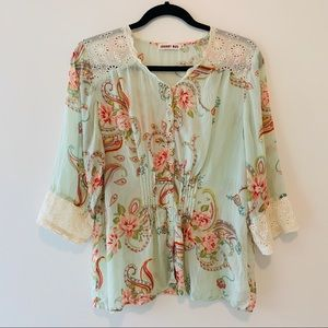 Johnny Was Sheer Floral Rayon Lace Trimed Blouse